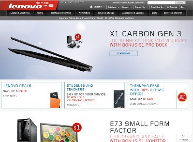 Screenshot of Lenovo Australia website