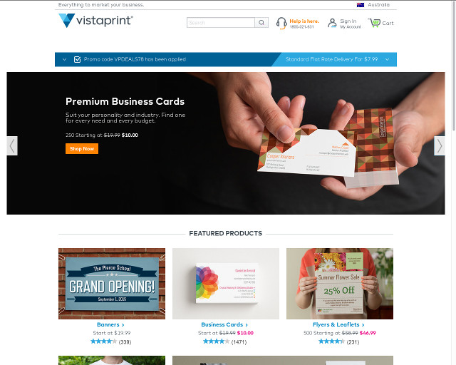 Vistaprint Australia: 250 free business cards