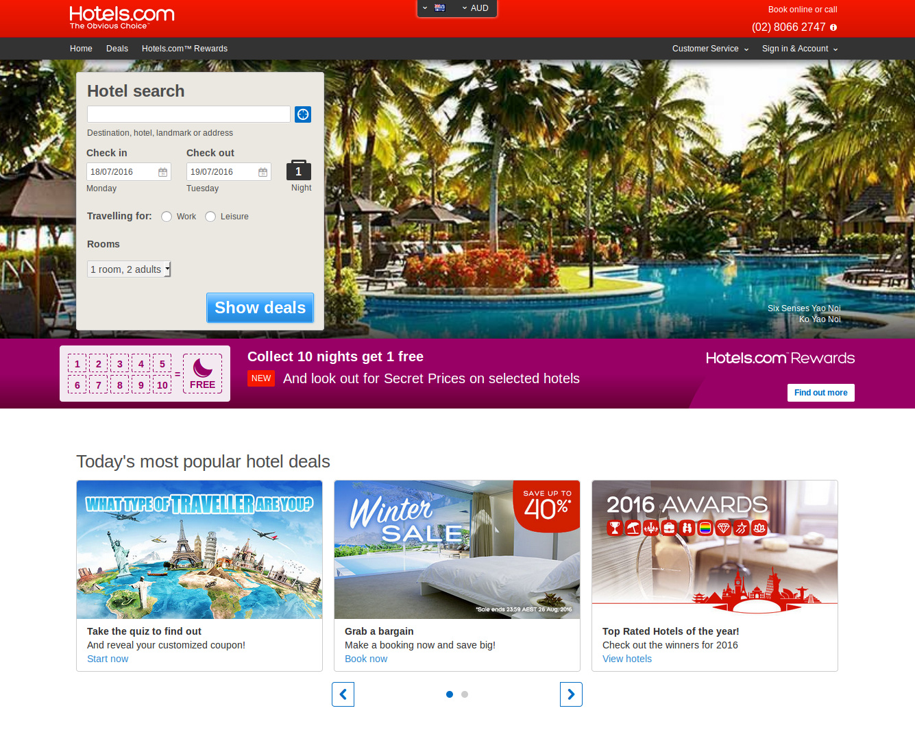 Hotels.com deals on hotels