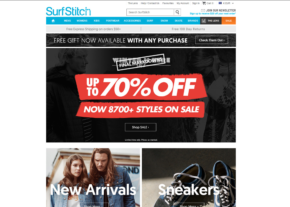 Screenshot of SurfStitch Australia homepage